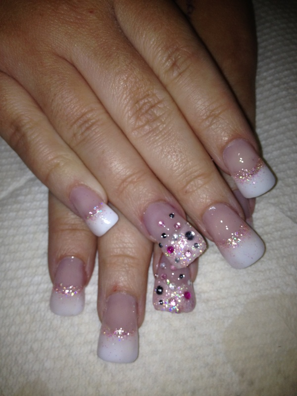 Flare Nails By Sactown Nails And Sactown Nail Spa: 'Flare' Nails With Glitter And Gem Art.
